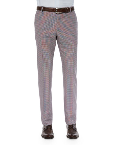 Gingham Flat-Front Wool Trousers, Red