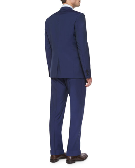 Hairline Stripe Two-Piece Suit, Blue