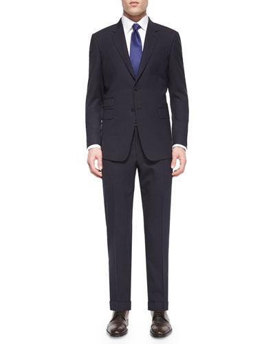 Mini-Check Two-Piece Wool Suit, Black/Purple