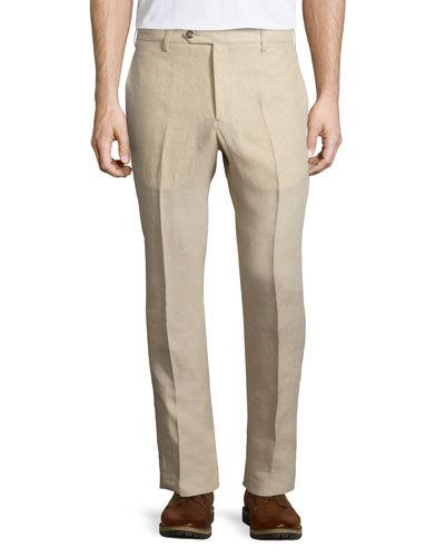 Solid Linen Dress Pants, Tan
