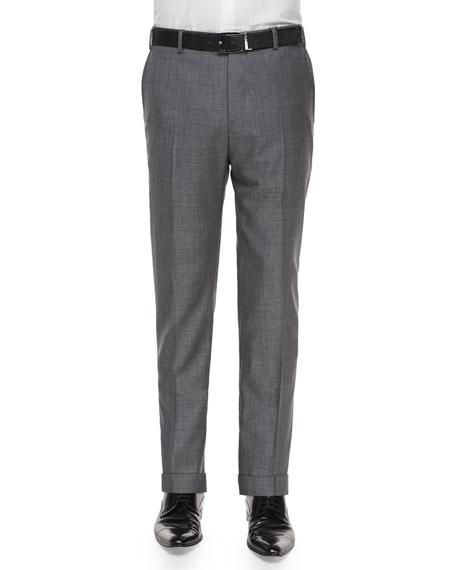 Zanella Parker Flat-Front Sharkskin Trousers, Grey