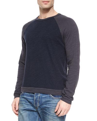 Long-Sleeve Baseball Sweater, Blue