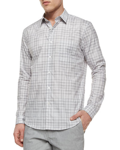 Rammy Dorncliffe Plaid Sport Shirt, Light Gray