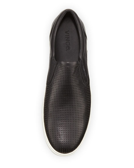 Ace Perforated Leather Skater Sneaker, Black