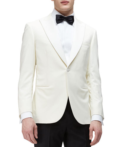 One-Button Peaked-Lapel Dinner Jacket, Ivory