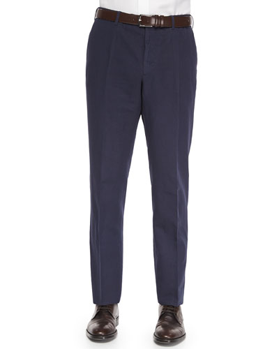 Chinolino Cotton/Linen Trousers, Navy