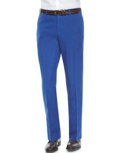 Chinolino Cotton/Linen Trousers, Blue