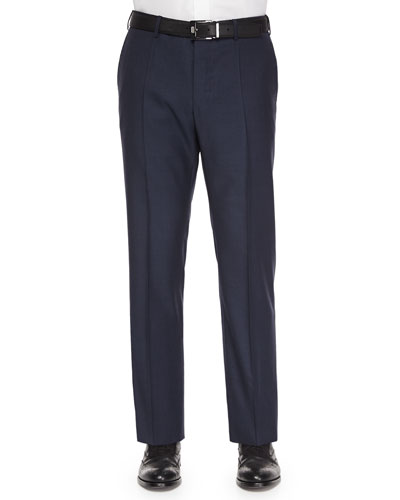Benson Wool Trousers, Navy Sharkskin