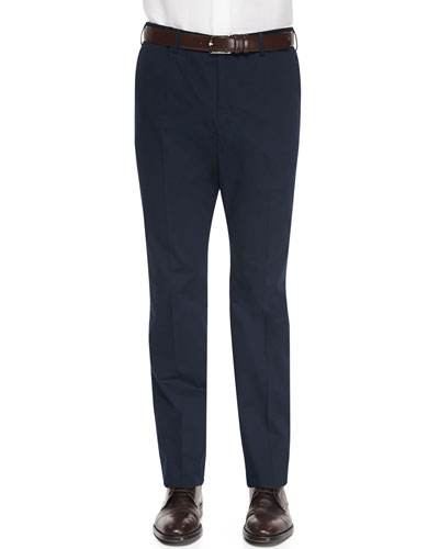 Brando Dressy Cotton Trousers, Navy