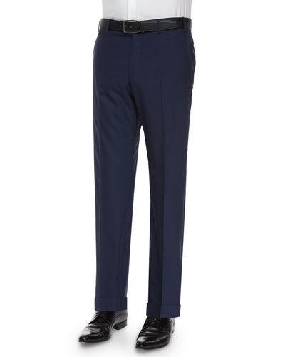 Parker Flat-Front Super 150s Trousers, Blue