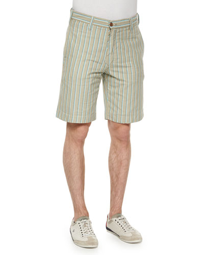 Reversible Oxford Stripe Shorts, Green