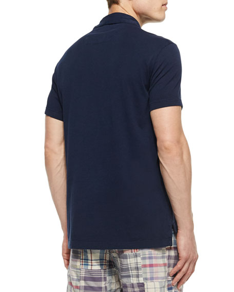 Johnny-Collar Knit Polo Shirt, Navy