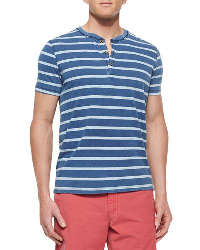 Striped Short-Sleeve Henley Tee, Light Blue