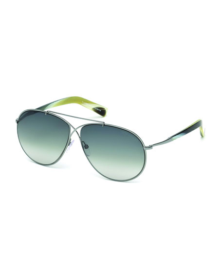 TOM FORDEva Lightweight Aviator Sunglasses, Silver