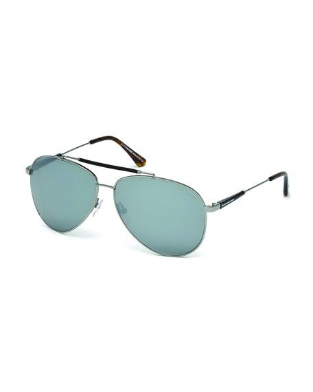 TOM FORDRick Aviator Sunglasses in Shiny Metal