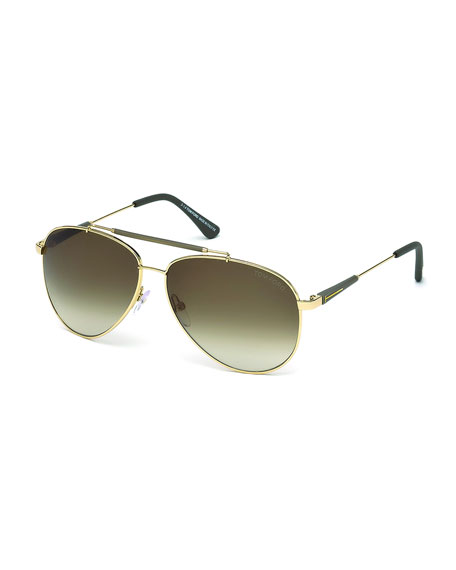 TOM FORD Rick Aviator Sunglasses, Rose Gold
