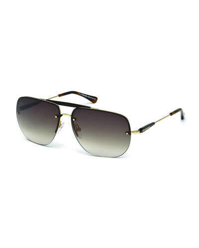 Nils Rimless Aviator Sunglasses, Rose Gold