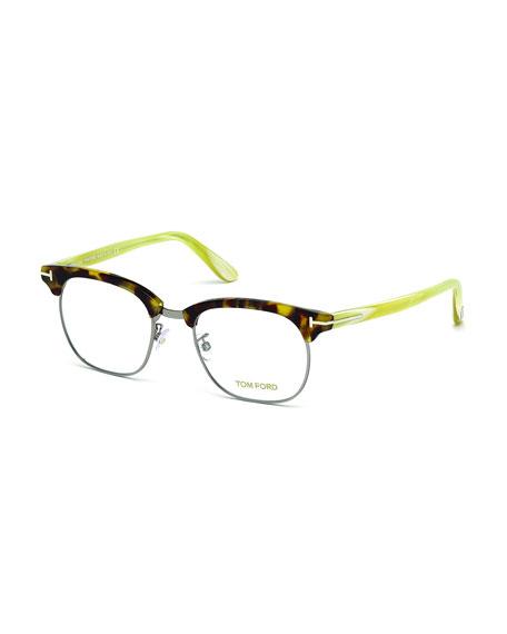 TOM FORD Acetate/Metal Eyeglasses, White Horn