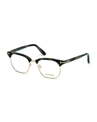 Acetate Round Eyeglasses, Black Horn