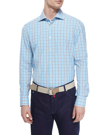 Kiton Check Woven Dress Shirt, Aqua/White