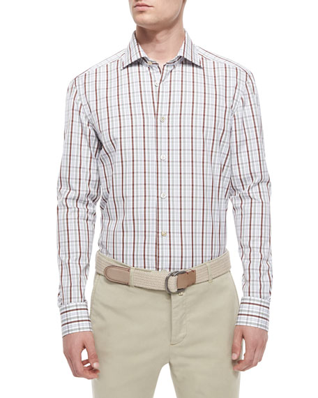 KitonPlaid Woven Shirt, Brown/White