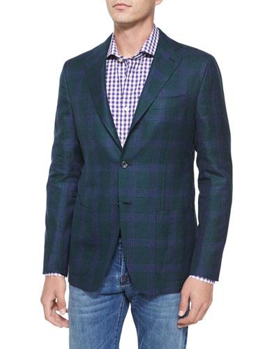 Cashmere/Linen Plaid Two-Button Jacket, Green/Purple