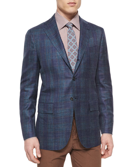 Kiton Cashmere-Blend Plaid Sport Coat, Blue