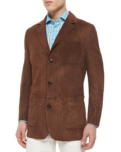 Three-Button Suede Blazer, Tobacco