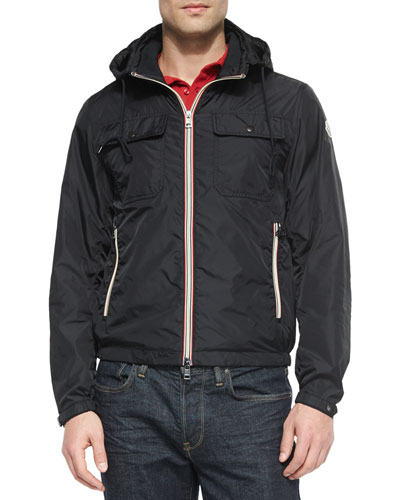 Lyon Hooded Wind-Resistant Jacket, Black