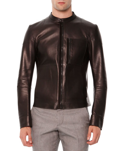 Leather Zip-Front Jacket w/ Zip Pocket