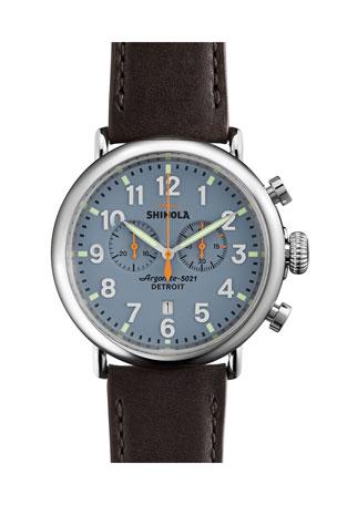 Shinola Men's 47mm Runwell Chrono Watch, Dark Brown/Blue