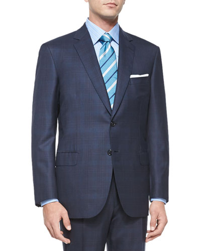 Super 160s Plaid Two-Piece Suit, Navy/Turquoise