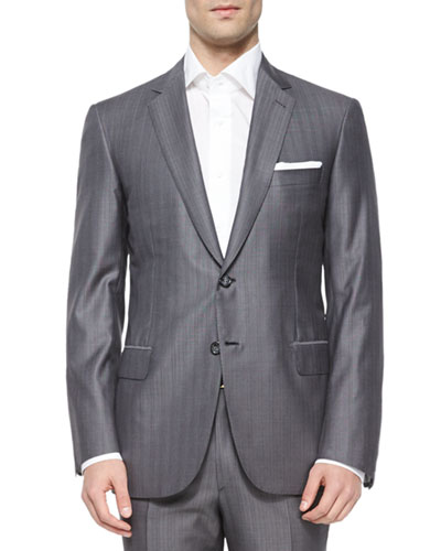 Super 150s Herringbone Striped Suit, Gray