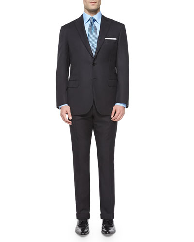 Super 150s Micro-Herringbone Two-Piece Suit, Black