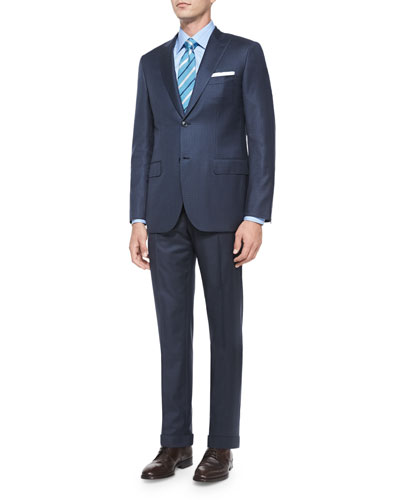 Super 150s Checked Two-Piece Suit, Navy