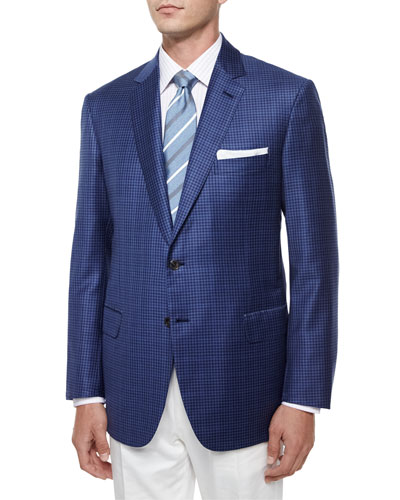 Check Wool Sport Jacket, Gray/Blue