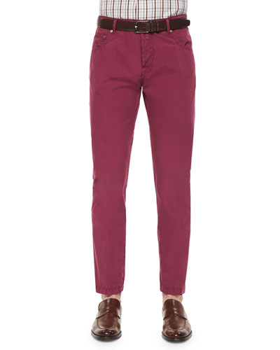 Washed Twill Five-Pocket Pants, Berry