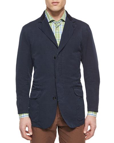 Cotton Three-Button Jacket with Suede Trim, Navy