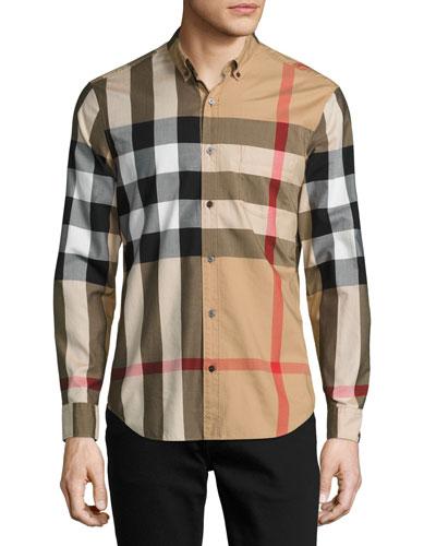 Woven Check Sport Shirt, Tan