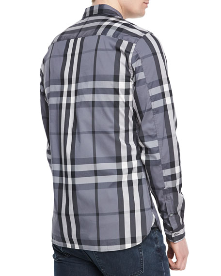 Woven Check Sport Shirt, Charcoal