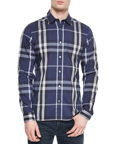 Long-Sleeve Woven Check Shirt, Navy
