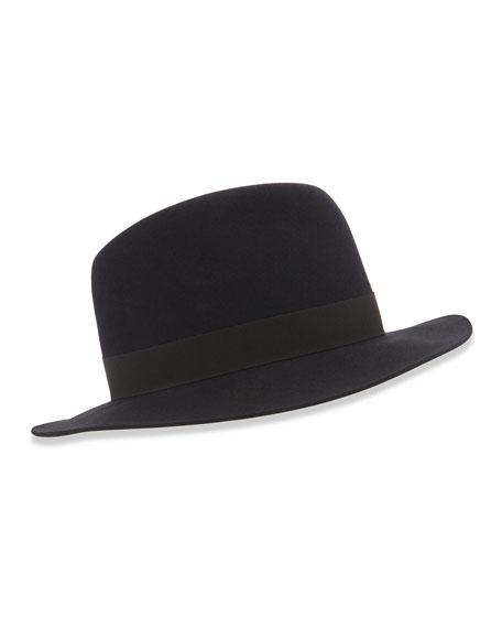 Loro Piana Burt Fedora Hat, Blue/Black