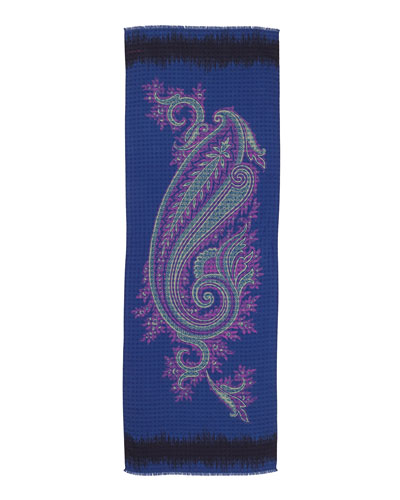 Large Paisley Printed Scarf, Blue/Pink