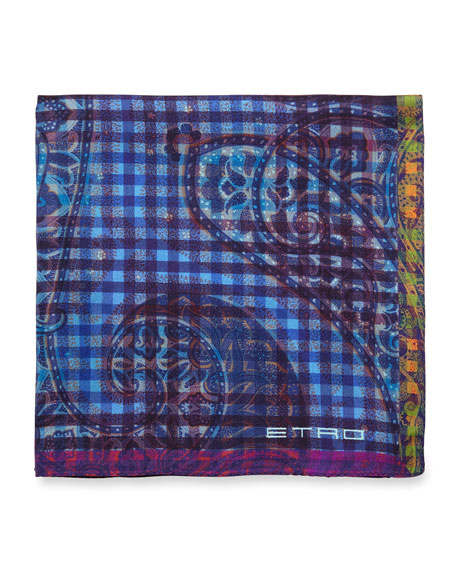 Etro Paisley-Print Silk Pocket Square, Blue