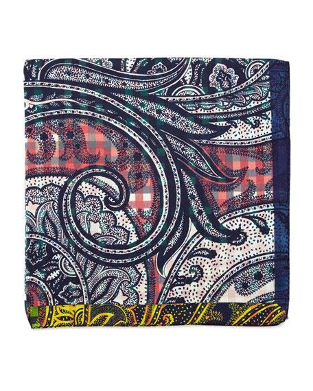 Etro Silk Paisley Print Pocket Square, Pink/Blue