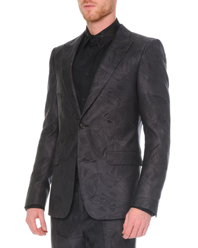 Skull-Printed Jacquard Jacket, Dark Gray