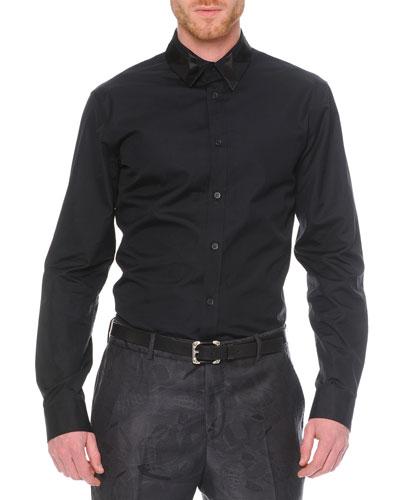 Poplin Shirt with Pieced Collar, Black