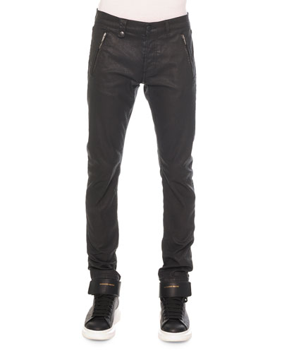 Woven Zip-Pocket Coated Jeans, Black