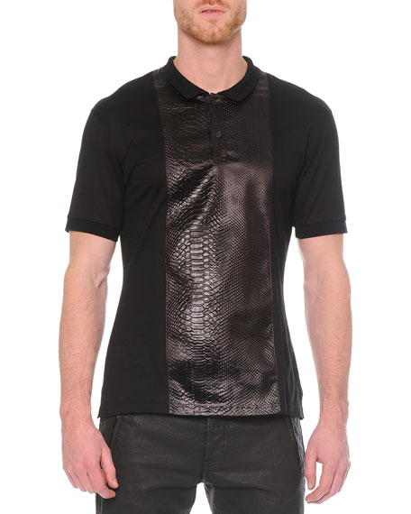Alexander McQueen Knit Python-Print Polo Shirt, Black