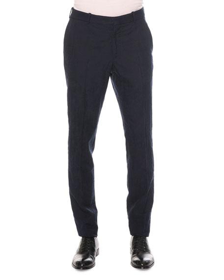 Alexander McQueen Worn Away Cotton/Wool Trousers, Navy